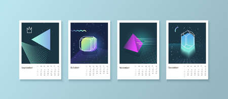 scheduler: Calendar style with space 80 crystals. Calendar Week starts on Monday. Scheduler with neon diamonds. Part 3 September, October, November, December Illustration
