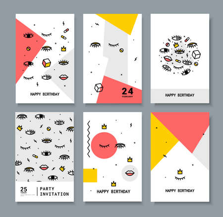 bright eyes: A set of cards for the holiday. Cards with design elements 80s. Bright eyes and lips for printing on fabric, invitations, parties.