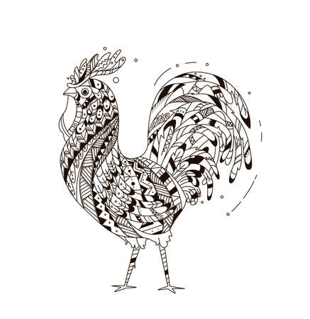 inspired: Rooster inspired zentangle style.