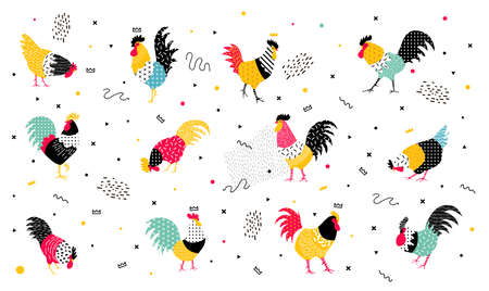 chinese new year card: Set roosters in a pop art style. Roosters with geomericheskimi elements in the style of the 90s, they can be used in the flyer, banners, advertisements. Rooster symbol 2017.