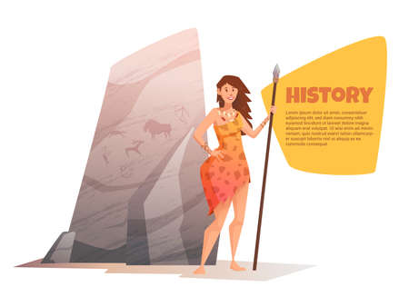 neanderthal women: A large rock with rock paintings. Smiling young woman holding a spear. Vector flat cartoon illustration. Bubble for text. Illustration