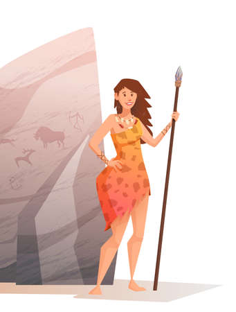 A large rock with rock paintings. Smiling young woman holding a spear. Vector flat cartoon illustration.