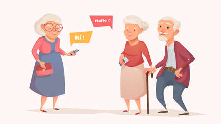 Un couple âgé et une vieille femme au style d'un dessin animé. Les personnes âgées se réunissent. Illustration vectorielle d'un design plat. Bubble pour le texte.