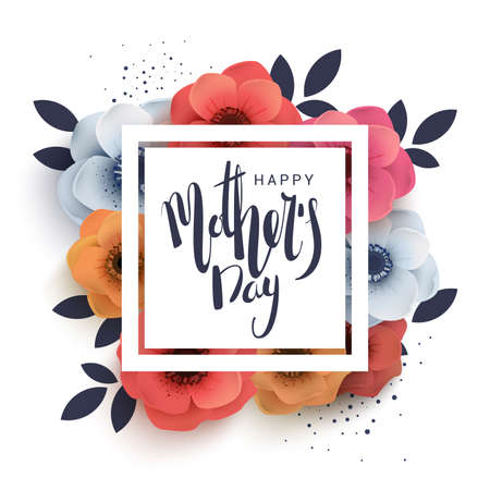Postcard to mothers day, with paper flowers. Illustration can be used in the newsletter, brochures, postcards, tickets, advertisements, banners. Congratulations on holiday Ilustrace