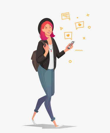 Young female student with a phone communicates in social networks. Vector illustration in the style of a cartoon with gadgets and a backpack.