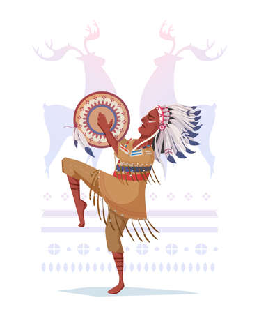 American Indian with a tambourine in the style of a cartoon. A shaman on a background of an ornament, a flat dsint. Childrens print on a T-shirt, notebook, cloth. Illustration