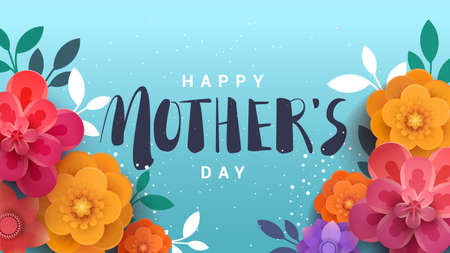 A modern illustration of a happy mother's day, with paper flowers and letteron. The illustration can be used in the newsletter, brochures, postcards, tickets, advertisements, banners.