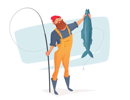 white salmon river: A cartoon man with a big fish in his hand. Vector illustration for rest on a fishing trip.