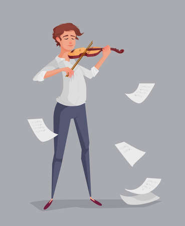 The young man is playing the violin. Background with leaves notes. Dynamic vector illustration. Illustration