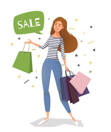 Young woman street style with bags for shopping. Vector illustration for sale, fashion market.