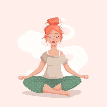 Giovane donna nella posa del loto. La ragazza è impegnata nello yoga. Meditazione e rilassamento. Illustrazione vettoriale per un banner. Archivio Fotografico - 77888476