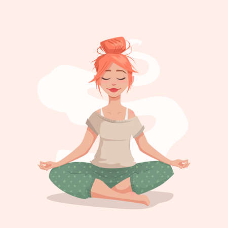 Young woman in lotus pose. The girl is engaged in yoga. Meditation and relaxation. Vector illustration for a banner.