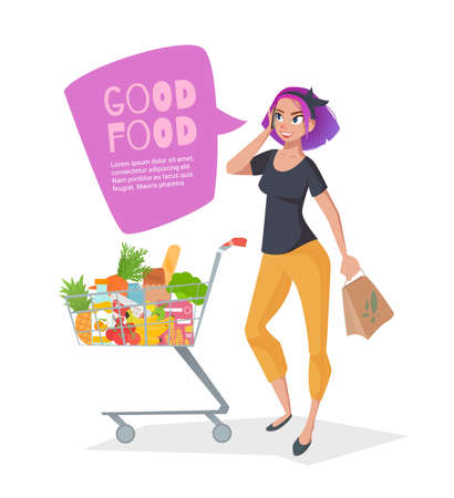 Young woman talking on the phone in a supermarket with a shopping basket full of groceries. Flat style vector illustration isolated on white background. There is room for text in the bubble.
