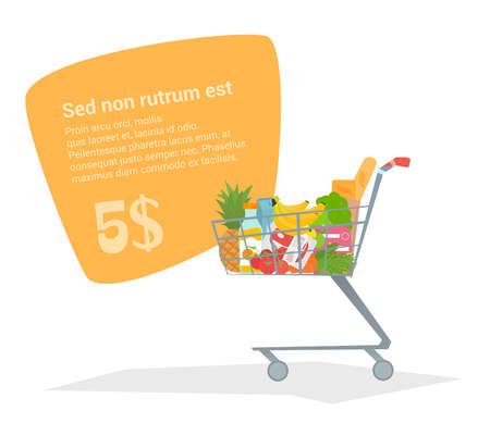 pushcart: Complete shopping cart truck with fresh products. Supermarket with a trolley for eating a flat design. Bubble with space for text. The vector illustration Illustration