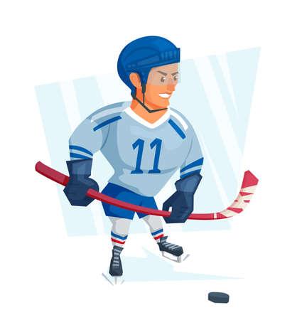 Cartoon Ice hockey player in blue uniform. Vector illustration. Illustration