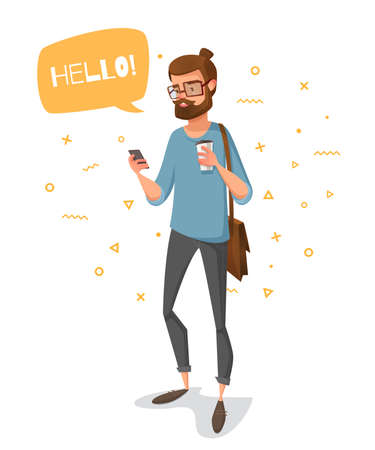 Happy cartoon man looking at his mobile phone and smiling on a background of geometric shapes. He has a bubble with the text.