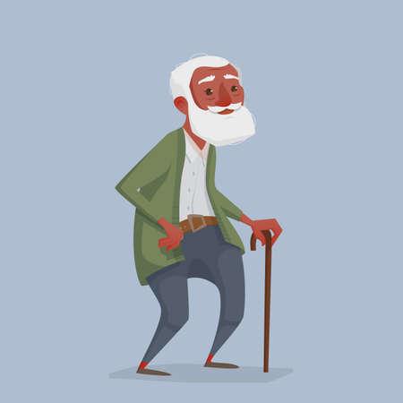 Un viejo hombre africano con una barba y un bastón. Un personaje de dibujos animados es el abuelo que puede usarse en revistas. Ilustración vectorial Foto de archivo - 77888491
