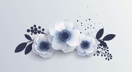 Bouquet Anemones flowers. Vector illustration of delicate white flower isolated. Realistic style with shadow, anemones, berries and leaves bouquet. Illustration