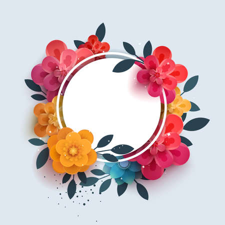 tu puedes: Flower composition with the text in a circle. Botanical illustration of red flowers thank you. Paper flowers can be used for printing, promotions, advertising, banner,