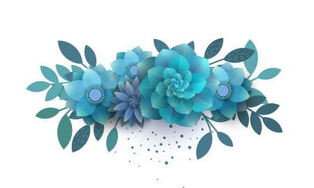 Flower composition of paper blue flowers. Bouquet can be used for invitations, printed on a T-shirt, promotions, banner. The trend vector illustration.