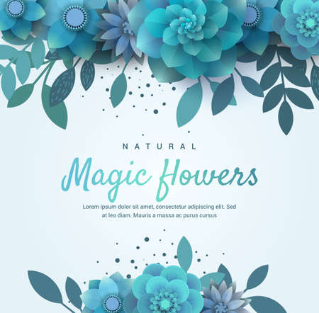 tenderly: Bright floral arrangement for the invitation. Vector blue flowers. Illustration can be used for the print, advertising, flyers. There is a place for text.