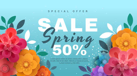 Spring sale banner with paper flowers on a blue background. Banner perfect for promotions, magazines, advertising, web sites. Vector illustration. Illustration