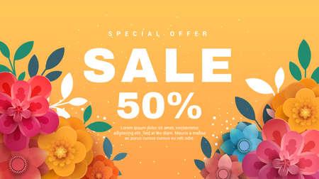 Bannière de vente de printemps avec des fleurs en papier sur un fond jaune. Illustration vectorielle Bannière parfaite pour les promotions, les magazines, la publicité, les sites Web. Banque d'images - 77888524