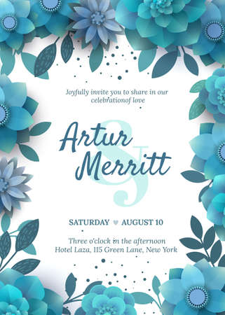 holiday invitation: Vector invitation with floral elements turquoise. Modern wedding collection. Paper blue flowers, elegant invitation to a holiday.