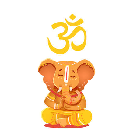 Illustration yellow Ganesh with Om symbol. Deity of the elephant-headed Indian god of wisdom and prosperity. Ganesh character can be used to print. Illustration