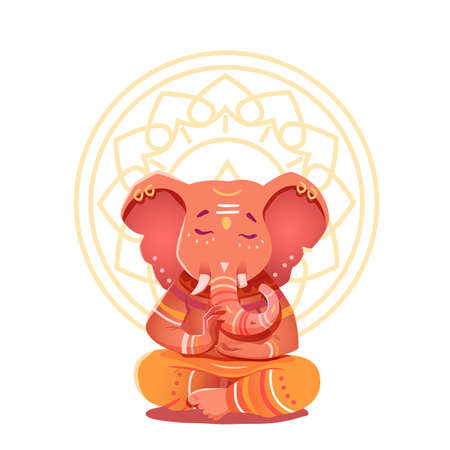 Ganesha Illustration in the lotus position. Mythological deities of India. Vector illustration of a deity with elephant head character on the background of the mandala. Illustration