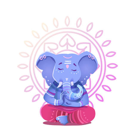 Illustration of Ganesh Indian god of wisdom and prosperity. Ganesh character can be used to print.