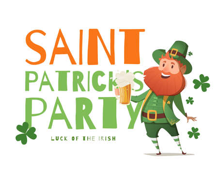 patrick: Banner design template Party St. Patrick. Simple banner with leprechaun and beer for the site, shop, magazine promotions. Banner with place for text.