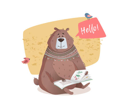 cute bear: Bear reading a book. Bear Character to print on a T-shirt, leaflet, poster, cover, book, printed on fabric. Vector illustration for children.