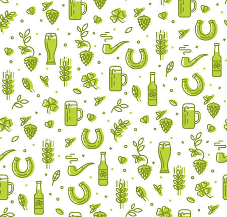 Simple seamless pattern with beer, hops, horseshoe. Pattern pub restaurant Illustration
