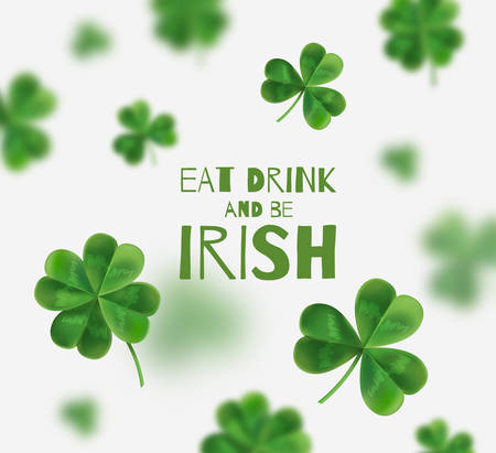 Vector illustration on St. Patricks Day. From 3D-effect. There is space for text. Eat drink and be irish Illustration