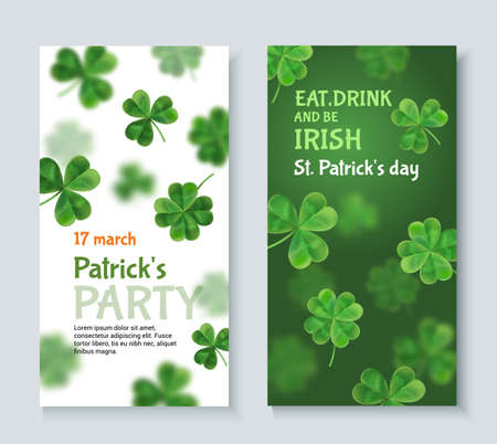 patrics: Modern invitation to a party St. Patrick. Vector 3d effect. Flyer to the pub for a holiday.