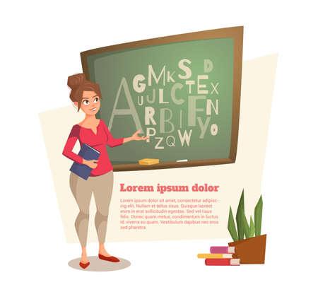 여성 교사는 편지가 쓰여진 보드에 보여줍니다. 젊은여자가 미소 하 고 단서를 리드. 배너는 웹 사이트, 잡지에서 사용할 수 있습니다. 벡터 일러스트  일러스트
