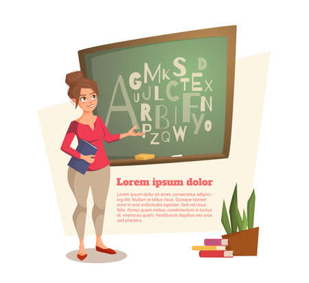 Eine weibliche Lehrerin zeigt an der Tafel, wo die Briefe geschrieben sind. Eine junge Frau lächelt und führt eine Lektion. Das Banner kann auf der Website, Magazin verwendet werden. Vektor-Illustration. Es gibt Raum für Text. Standard-Bild - 77888564