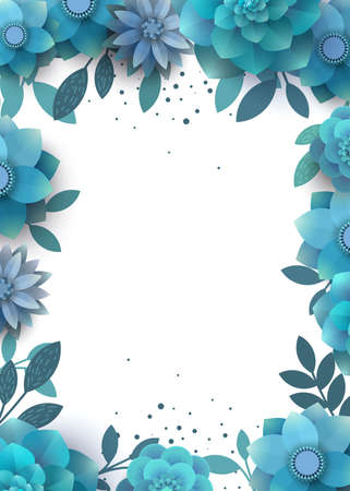 tenderly: Template design flower arrangement with place for text. Illustration can be used for invitations, tickets, flyers, posters, advertisements. Vector background with blue flowers.