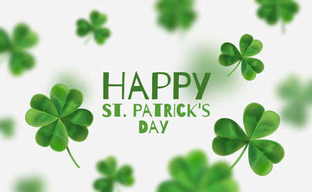 Modern flyer for St. Patricks party. Clover 3D-effect. There is space for text. Happy St. Patricks Day.