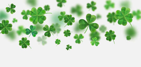 celtic: Background for St. Patricks. Vector illustration for design with clover. Clover 3D isolated on white background. Irish symbols of the holiday. There is room for text. Illustration