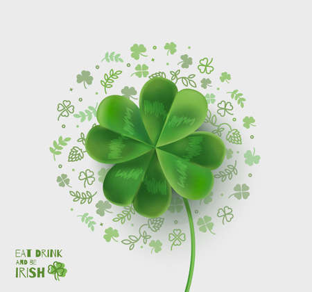 Illustration with four-leaf clover for St. Patricks Day. Vector illustration with 3D effect.