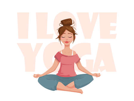 meditates: The girl in the lotus pose meditates. I love yoga. A girl character in a yoga pose. Illustration