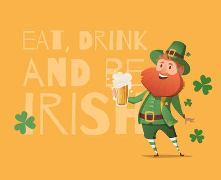st  patrick's day: Card for St. Patricks Day with leprechaun in a suit. Invitation to an Irish party at the Pub. Happy St. Patricks Day.