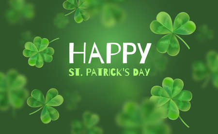 Template Design banner on St. Patricks Day. 3d effect clover. Simple banner for the site, shop, magazine promotions. Banner with place for text.