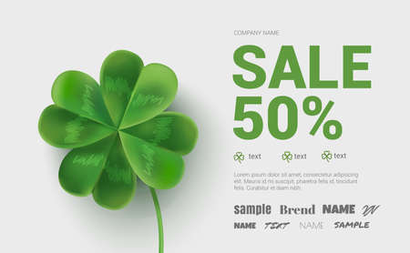 Banner 50 % off for the St. Patrick's Day. Template of banner with clover. Flyer with clover can be used in promotions , websites, in stores.
