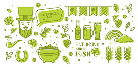 patrics: A set of elements for St. Patricks Day. Simple design thin line. Icons can be used in advertising, poster, booklet, cover the ticket.