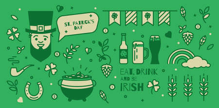 lucky clover: A set of elements for St. Patricks Day. Simple design thin line. Icons can be used in advertising, poster, booklet, cover the ticket.