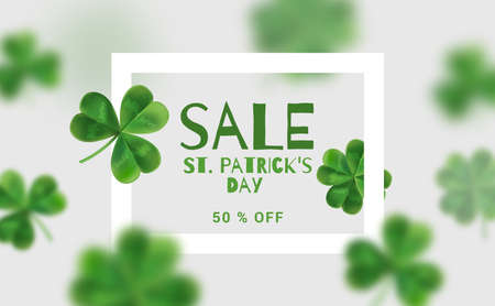 Modern banners for sales on St. Patricks Day. Design Web banners with 3d effect. Flyer with clover can be used in promotions.
