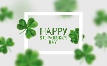 celtic: Background with clovers 3d effect. Poster with place for text. Happy St. Patricks for.
